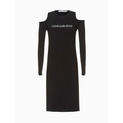 Vestido Midi Abertura Ombros - Preto