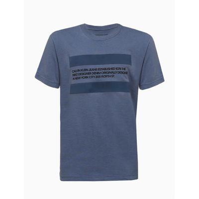 Camiseta Mc Silk Meia Reat Gc Text Faixa - Azul Médio