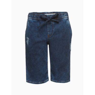 Bermuda Jeans Mol Elástico - Azul Marinho