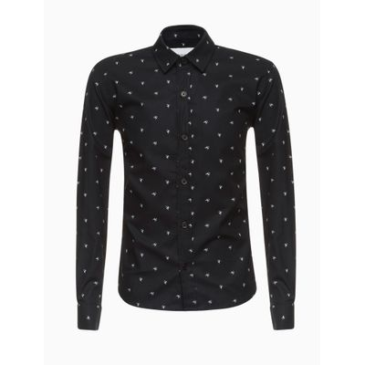 Camisa Ml Microprint Ck - Preto