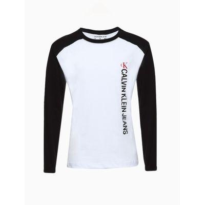 Camiseta Ml Rolo Falso Raglan Logo Vertc - Branco