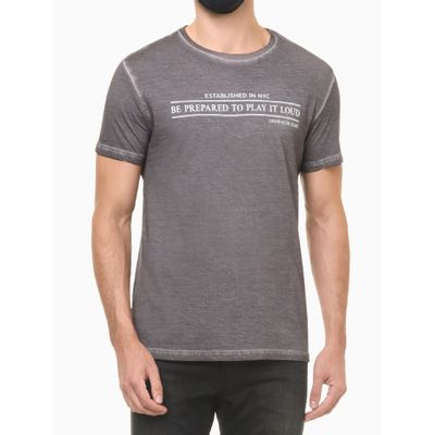 Camiseta Mc Regular Frase Meia Seco Gc - Chumbo
