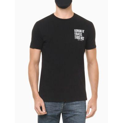 Camiseta Masculina Estampa Drum N' Bass Preta Calvin Klein Jeans