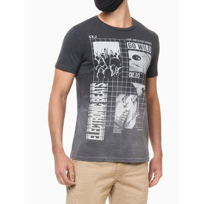 Camiseta Masculina Estampa Electronic Beats Chumbo Calvin Klein Jeans