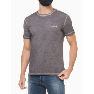 Camiseta Masculina Básica Estonada Logo Chumbo Calvin Klein Jeans