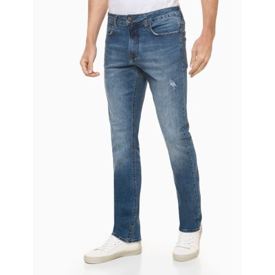 Calça Jeans Straight C/ Puídos - Azul Médio