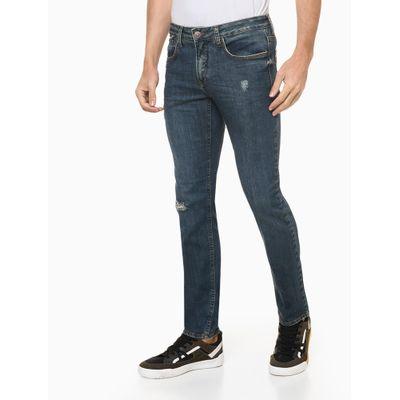 Calça Jeans Masculina Skinny Destroyed Azul Media Calvin Klein
