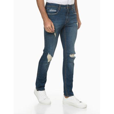 Calça Jeans Masculina Skinny Estampa no Bolso Destroyed Azul Marinho Calvin Klein Jeans