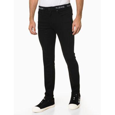 Calça Jeans Masculina Super Skinny Logo na Cintura Preta Calvin Klein Jeans