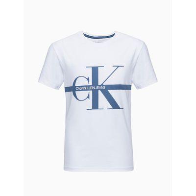 Camiseta Mc Logo Meia Reat Gc Ck Faixa - Branco