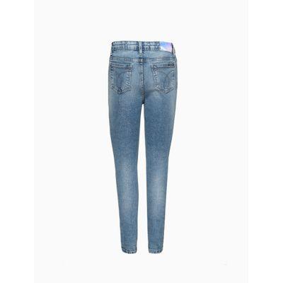 Calça Jeans Lavagem Com Glíter - Azul Médio