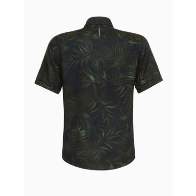 Camisa Mc Estampa Folhagem - Preto