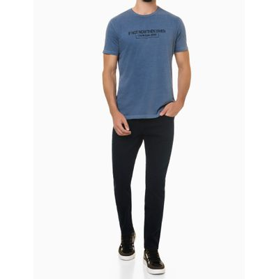 Camiseta Mc Regular Frase Meia Pig Gc - Azul Médio