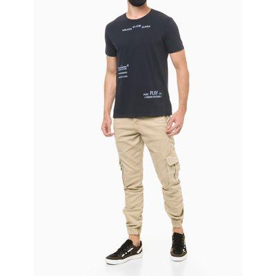 Camiseta Masculina Estampa Pause/Play Azul Marinho Calvin Klein Jeans