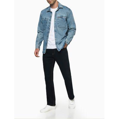 Calça Jeans Relaxed Straight Pesp. Tripl - Azul Marinho