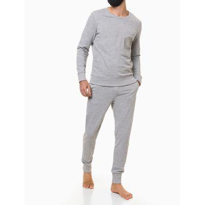 Calça Moletom Jogger Masculina Estampa Icon no Bolso Cinza Mescla Loungewear Calvin Klein