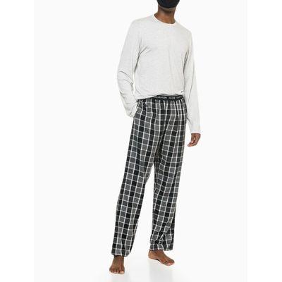 Pijama M/L E Calça De Viscose Xadrez - CinzaClaro