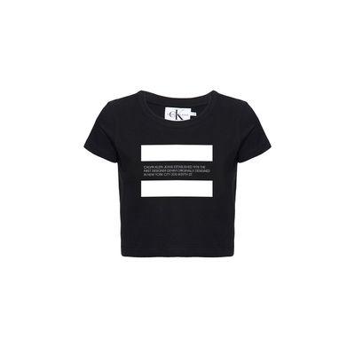 Blusa Feminina Infantil Estampa Established 1978 Preta Calvin Klein Jeans