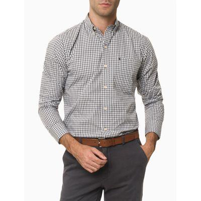 Camisa Xadrez Manga Longa Regular Masculina Caqui