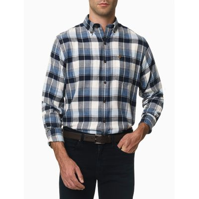Camisa Xadrez Manga Longa Regular Masculina Azul Marinho