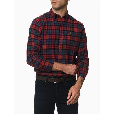 Camisa Xadrez Manga Longa Regular Masculina Bordo