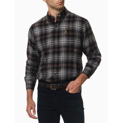 Camisa Xadrez Manga Longa Regular Masculina Chumbo
