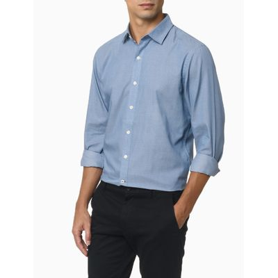 Camisa Mini Jacquard Masculina Azul Claro