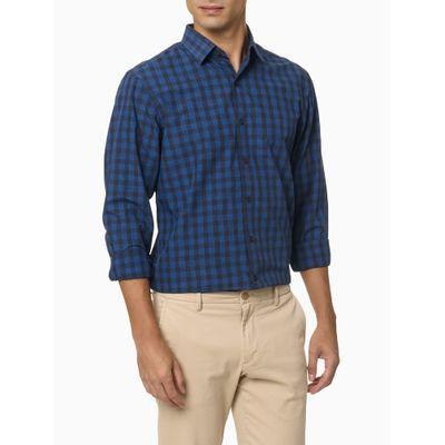 Camisa Xadrez Manga Longa Regular Masculina Azul