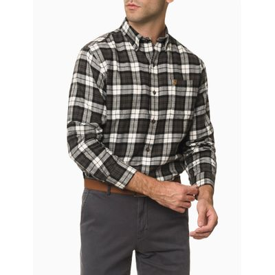 Camisa Xadrez Manga Longa Regular Masculina Cinza Chumbo