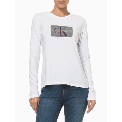 Camiseta Ml Ckj Fem Re Issue Retangulo - Branco