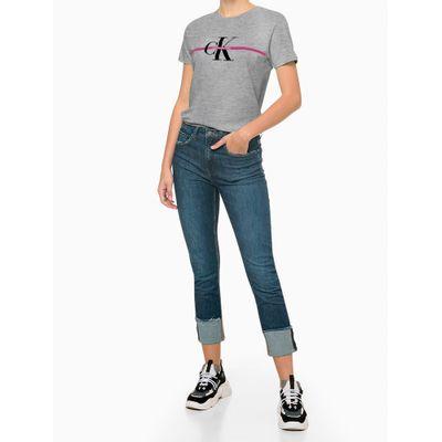 Camiseta Mc Ckj Fem Re Issue Faixa - Cinza Mescla