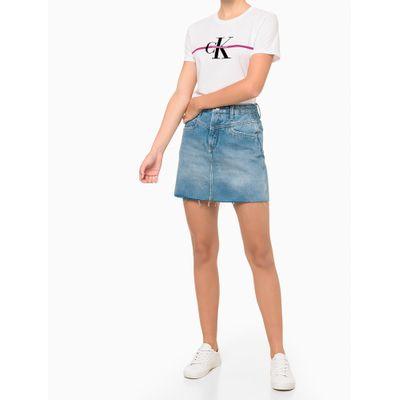 Camiseta Feminina Estampa CK com Faixa Branca Calvin Klein