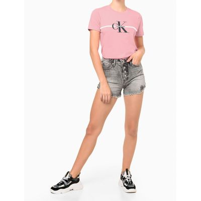 Camiseta Mc Ckj Fem Re Issue Faixa - Rosa Claro