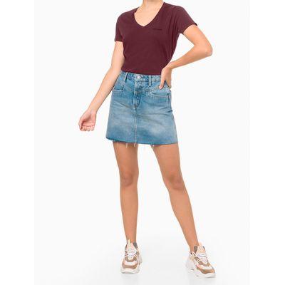Blusa Feminina Slim Gola V Bordô Calvin Klein Jeans