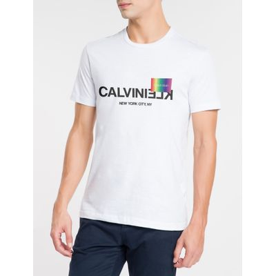 Camiseta Masculina Slim Pride Branca Calvin Klein