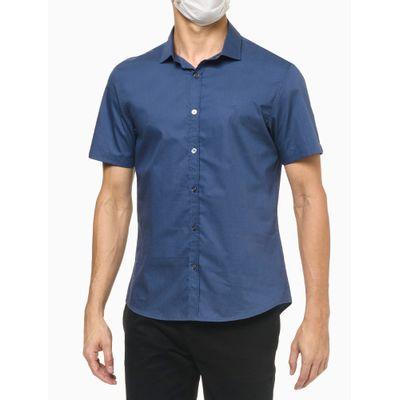 Camisa Mc Regular Basic Fio 50/1 - Azul Médio