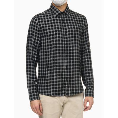 Camisa Ml Slim Viscose Xadrez Pequeno - Preto