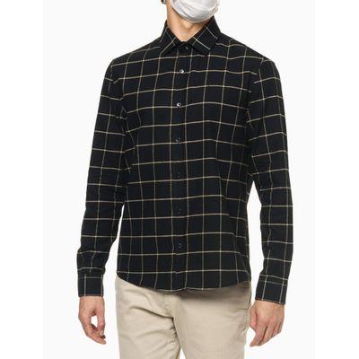 Camisa Ml Regular Flanela Quadriculada - Preto