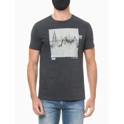 Camiseta Masculina Estampa Feel The Beat Chumbo Calvin Klein Jeans