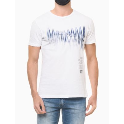Camiseta Masculina Estampa Sound Wave Branca Calvin Klein