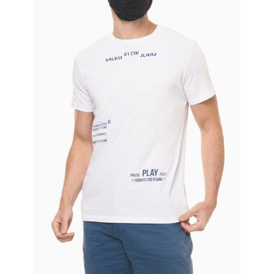 Camiseta Masculina Estampa Pause/Play Branca Calvin Klein Jeans