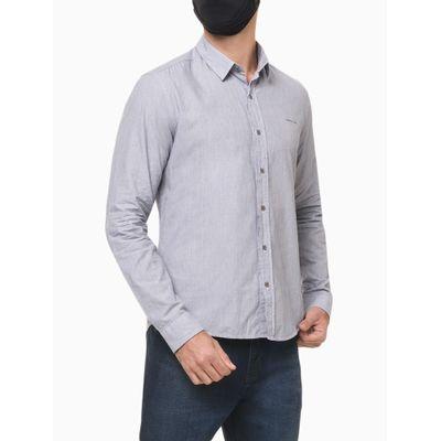 Camisa Ml Slim Listr V S Bols Amac L220 - Azul Marinho