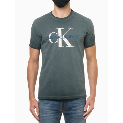 Camiseta Masculina Estonada Logo CK Verde Calvin Klein Jeans