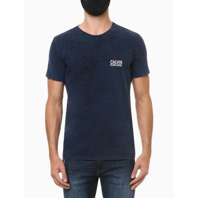 Camiseta Masculina Estonada Azul Media Calvin Klein Jeans
