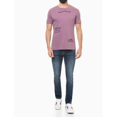 Camiseta Masculina Estampa Pause/Play Roxa Calvin Klein Jeans