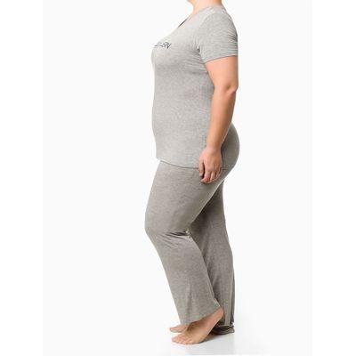 Pijama Mc E Calça Viscolight Plus Size - Cinza Mescla