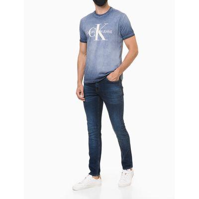 Camiseta Masculina Estonada Logo CK Azul Media Calvin Klein Jeans