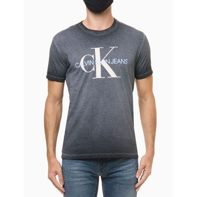 Camiseta Masculina Estonada Logo CK Azul Marinho Calvin Klein Jeans
