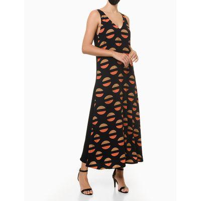 Vestido Maxi Poá Longo Calvin Klein - Preto
