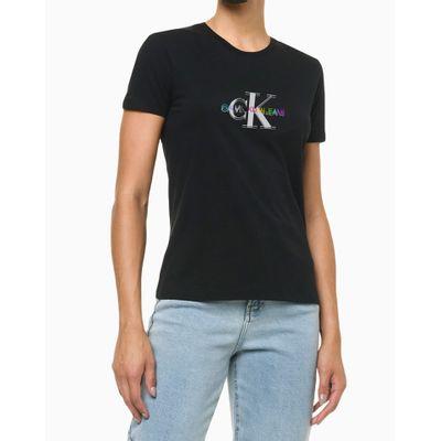 Camiseta Feminina Slim Manga Curta Pride - Preta